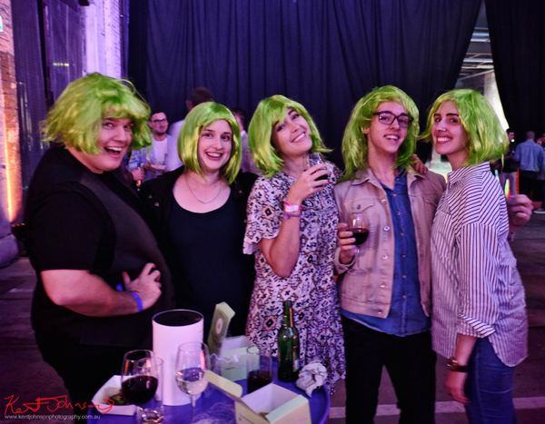 A group with green party wigs, UE Boom 2 Launch at Carriageworks Sydney #PartyUp photographed by Kent Johnson for Street Fashion Sydney.