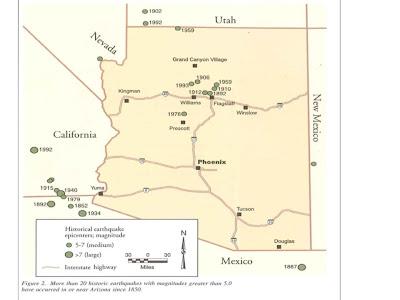 Map Of Arizona Fault Lines.Arizona Geology Arizona S Earthquake Hazards