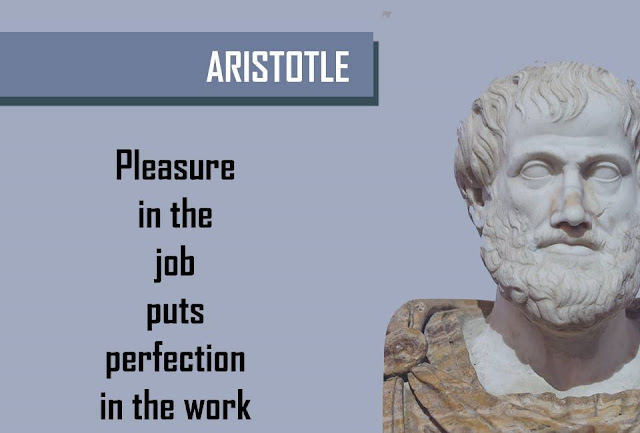 Quote by ARISTOTLE - Pleasure is the job puts perfection in the work
