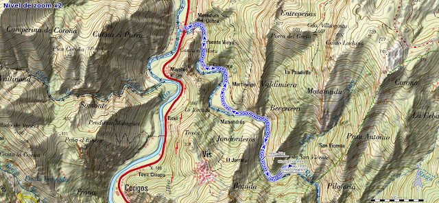Mapa de la ruta de la Olla de San Vicente