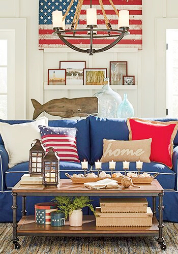 American Wooden Flag Wall Decor Living Room above Sofa