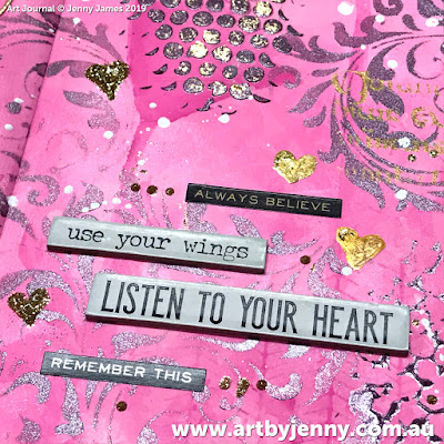 wise words on the art journal page by Jenny James - golden hearts with pink and purple