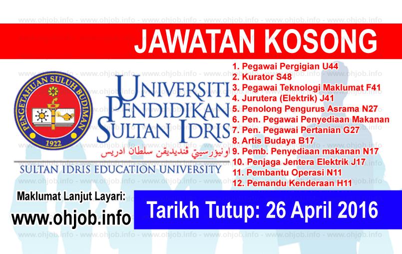 Jawatan Kerja Kosong Universiti Pendidikan Sultan Idris (UPSI) logo www.ohjob.info april 2016