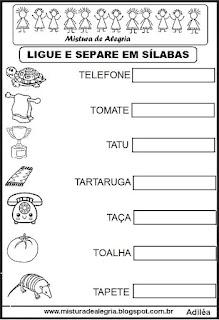 Separando em sílabas, desenhos com T
