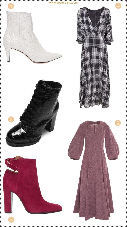 Maxi vestido e vestido midi estampado com bota tendência de outono e inverno