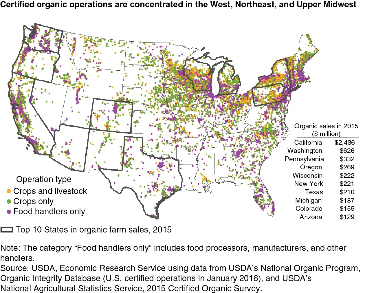 Map of U.S. Certified Organic Farms | Big Picture Agriculture California Agriculture Map on