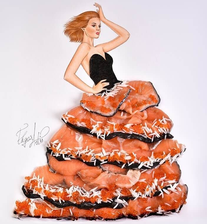 01-The-Sushi-Lady-Edgar-Artis-Drawing-with-Everything-Food-Art-and-More-www-designstack-co