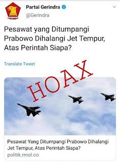 Kronologi HOAX Pesawat Tempur TNI AU Halangi Pasawat Prabowo Terbang