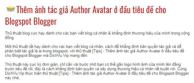 Thêm ảnh tác giả Author Avatar ở đầu tiêu đề cho Blogspot Blogger