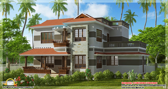 2300 square feet, 4bhk Kerala style variety home design