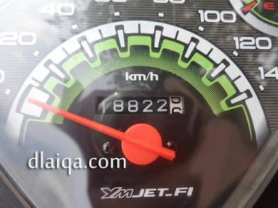 odometer ketika tiba di Pelabuhan Merak, Banten