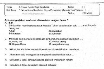 Soal UTS Kurikulum 2013 Kelas 5 Tema 2 Subtema 3