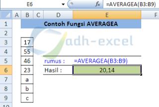 averagea function inExcel