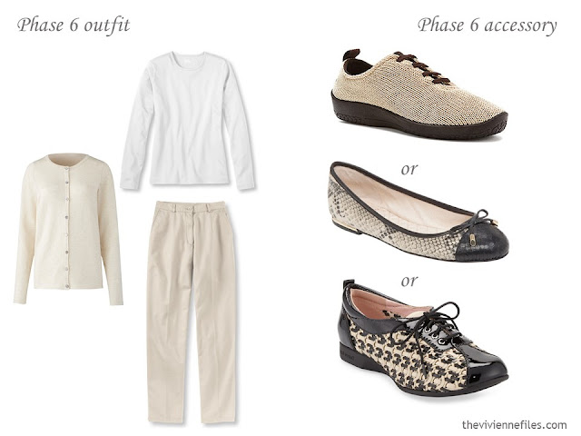 What shoes to wear with a beige and white outfit?