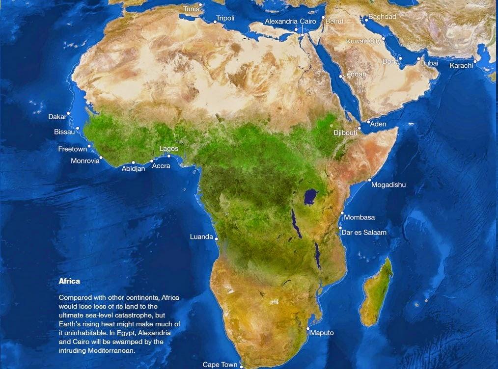 Se o gelo do mundo derreter - África