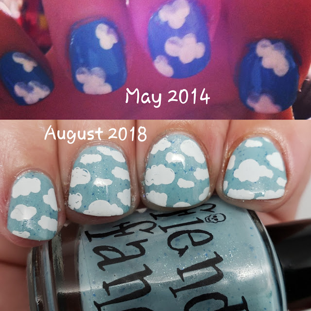 cloud nail art, fiendish fancies, indie polish, nail art
