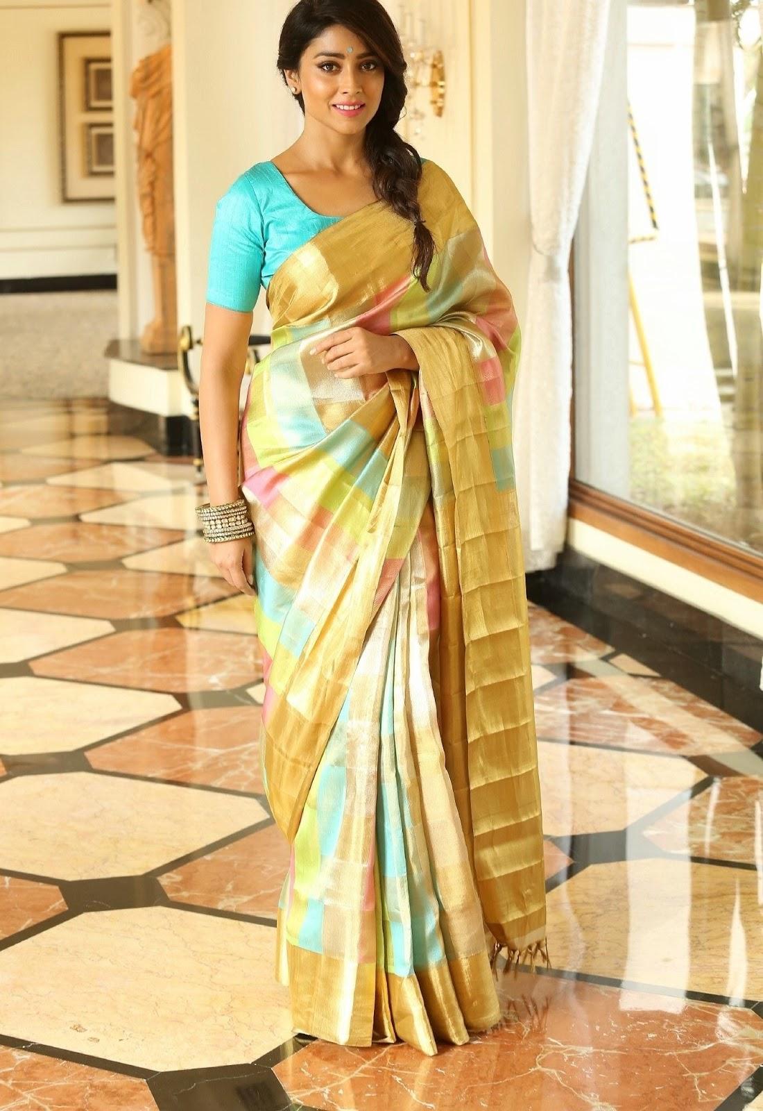 Shriya Latest Hot Stills In Kancheepuram Yellow Saree