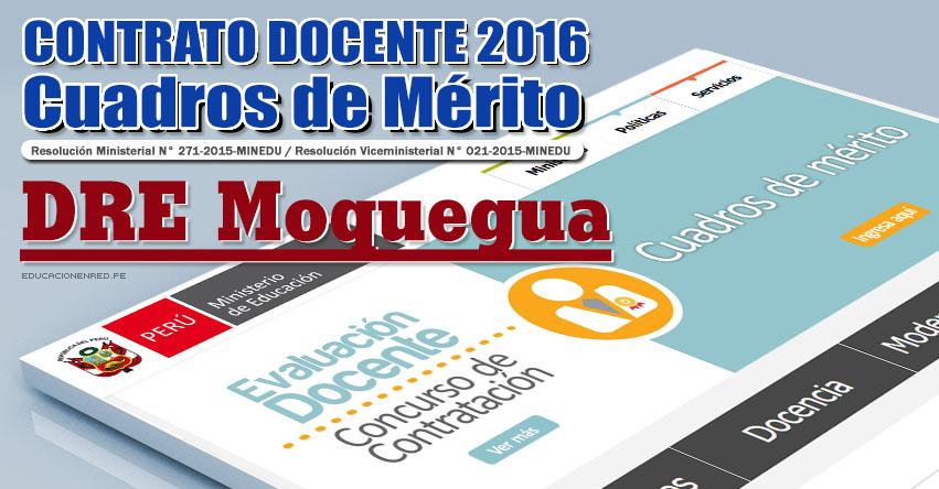 DRE Moquegua: Cuadros de Mérito para Contrato Docente 2016 (Resultados 22 Enero) - www.dremoquegua.gob.pe