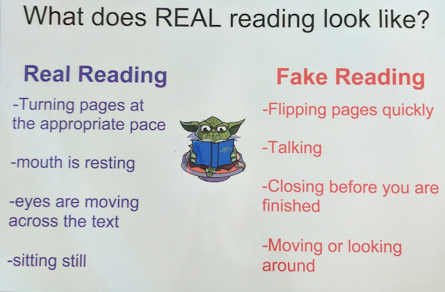 Real Reading vs. Fake Reading: Some would argue that by high school, especially by 11th and 12 grade, students should not nee to be told what real reading is.  However, I find that is not the case.  I post this visual reminder and review it regularly; redirection is also as easy as pointing at the chart.