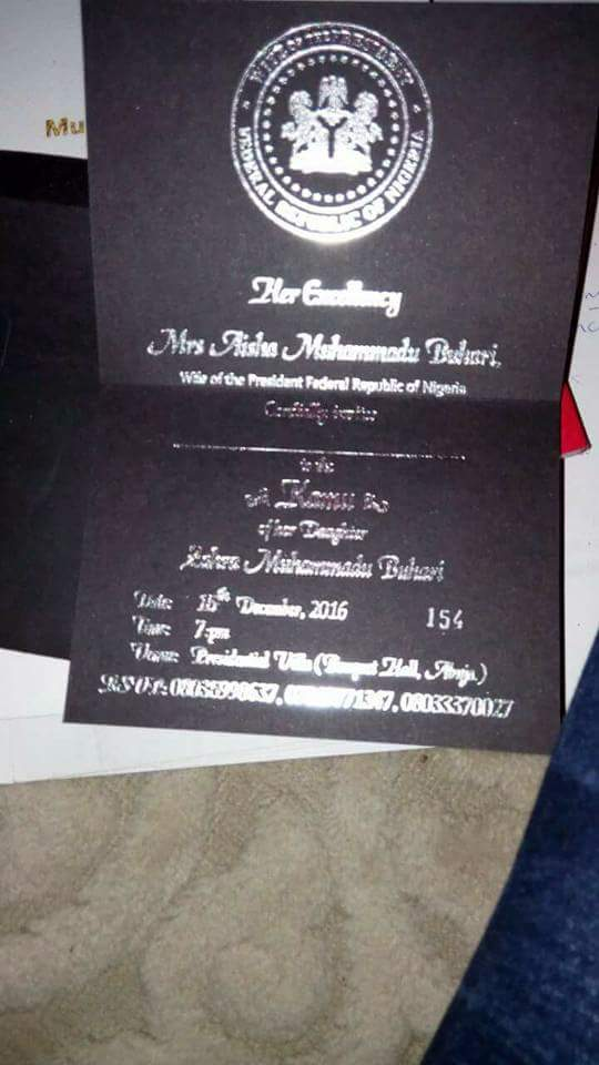Zahra Buhari & Ahmed Indimi's wedding invitation cards