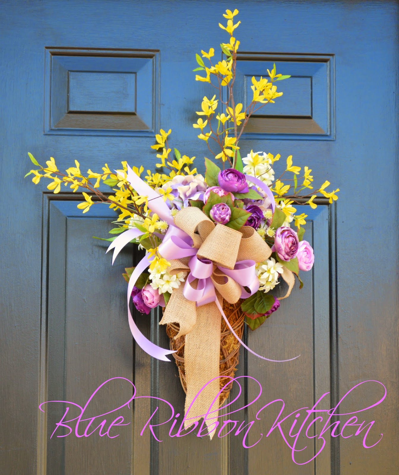Two Silly Monkeys Easter Basket Wreath: Blue Ribbon Kitchen: WELCOME To SPRING: Front Door Flower