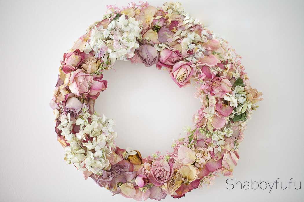 crafting a flower wreath