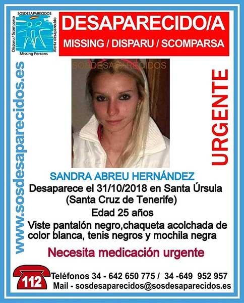 La joven Sandra Abreu Hernández, desaparecida en Santa Úrsula, Tenerife, necesita medicación urgente
