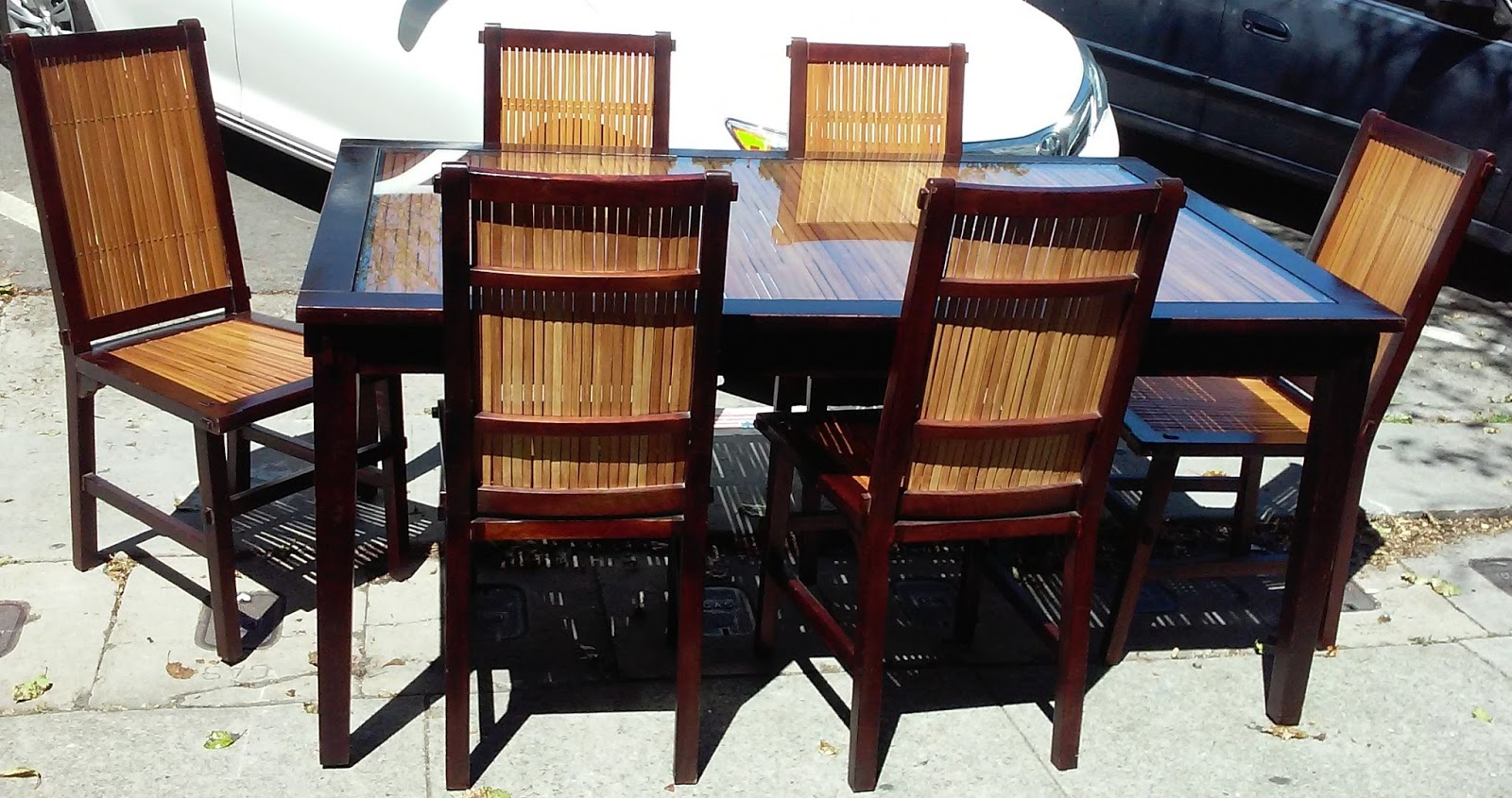 Uhuru Furniture Collectibles Sold Pier 1 Tropical Dining Set 5 1 2 39 X 3 1 2 39 Table 6 Chairs
