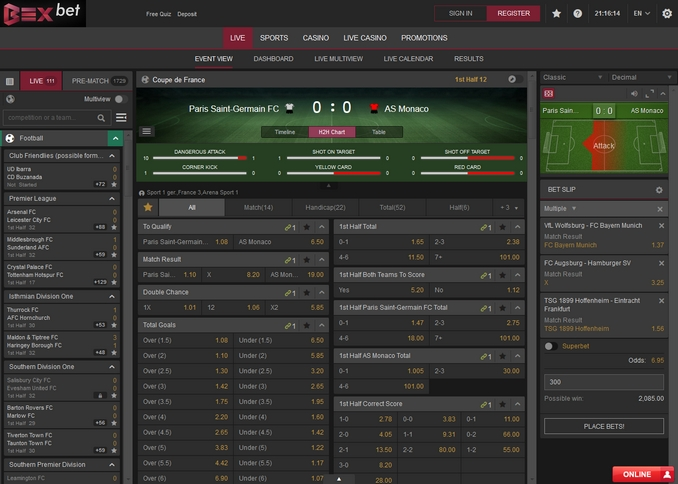 Bexbet Live Betting Screen