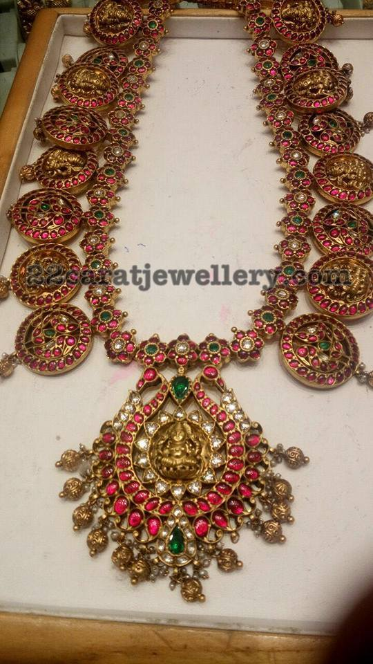 Lakshmi Haram With Ruby Motifs Jewellery Designs