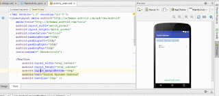Preview di   Contoh Widget Spinner Android Studio