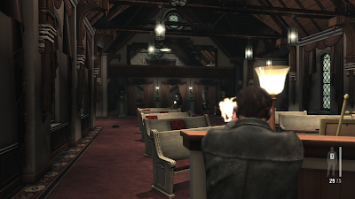 An image of gameplay and a gunfight in Max Payne