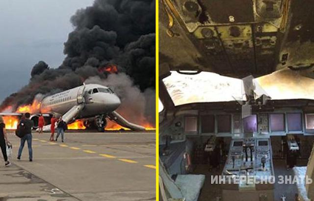 Фото из салона сгоревшего при посадке в «Шереметьево» самолета