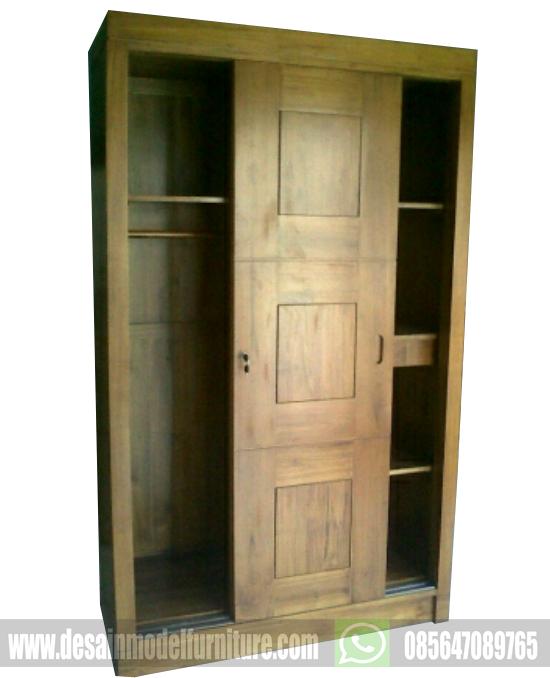 harga lemari pakaian minimalis kayu jati 2 pintu sliding