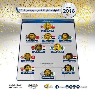 تشكيل منتخب العرب ،افضل 11 لاعب عربى فى عام 2016best arab players