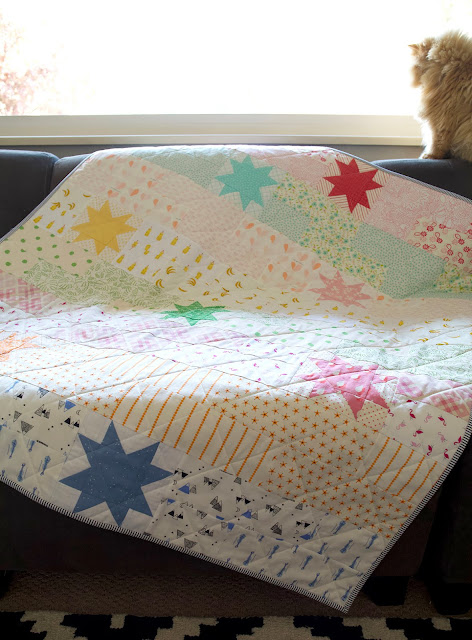 Stellar quit by Maker Valley found on A Bright Corner - pattern from the Fresh Fat Quarter Quilts Book by Andy Knowlton