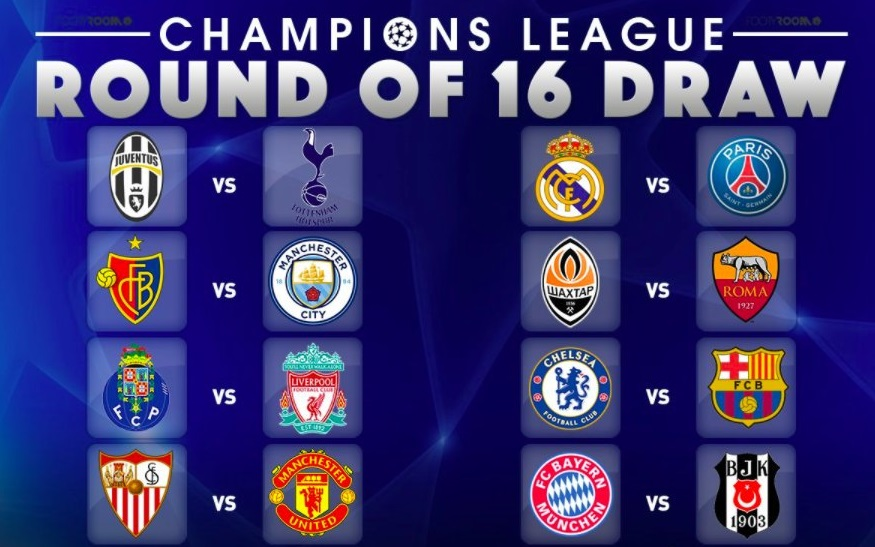 UEFA Champions League 2017-18 Round of 16 Schedule
