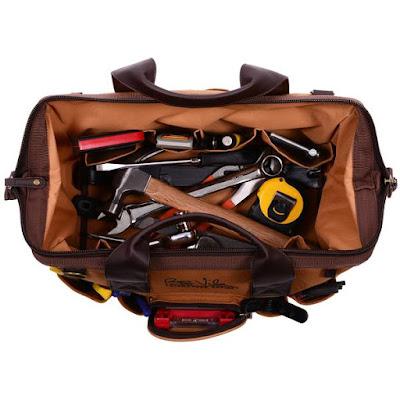 Bob Vila Signature Series Workman's Tool Bag inside view with tools