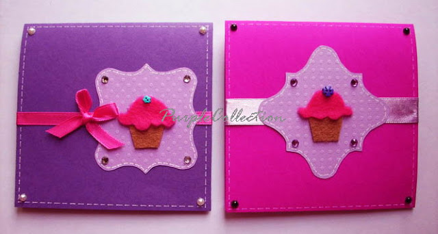 Square Birthday Cards, ribbon, cupcakes, purple, pink