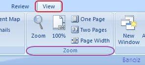 Pengaturan Zoom Pada Word 2007