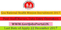 Goa National Health Mission Recruitment 2017– 50 Staff Nurses, Data Entry Operators