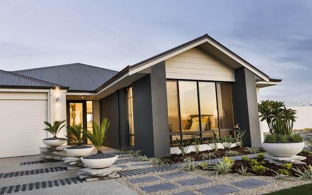 Contoh desain rumah minimalis satu lantai dengan kaca besar