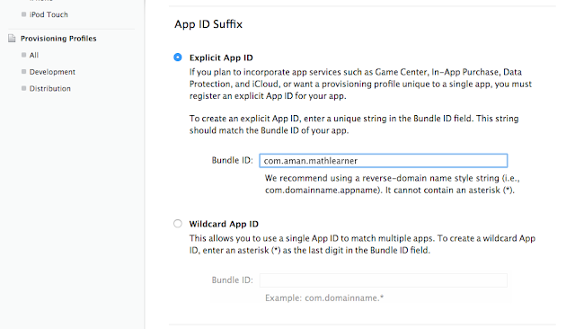Enter your app ID in Bundle ID field