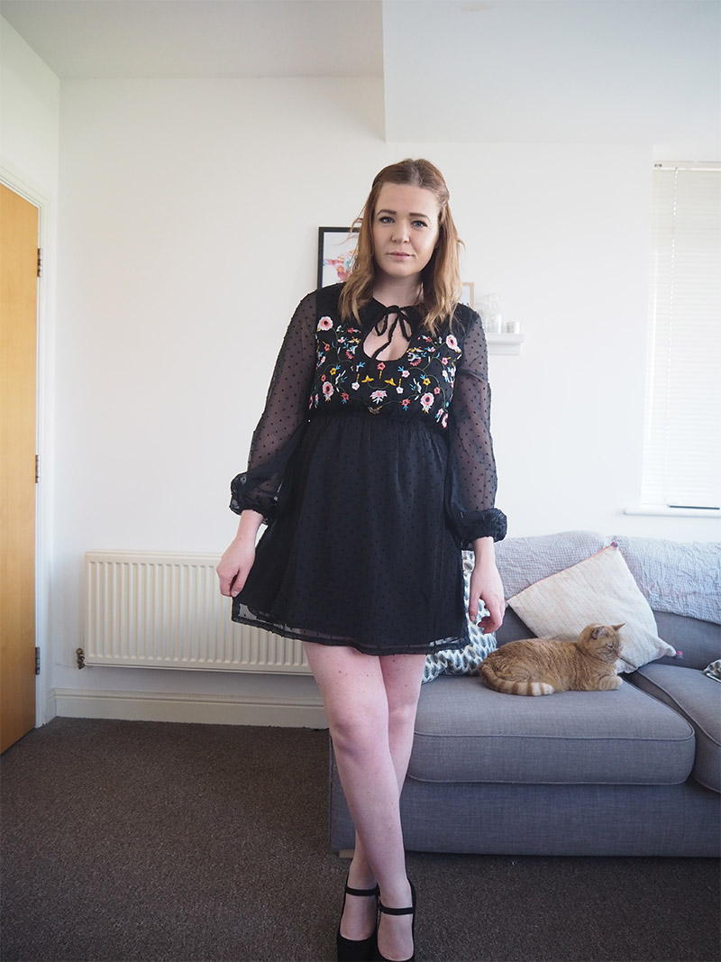 Boohoo Black Embroidered Skater Dress ootd