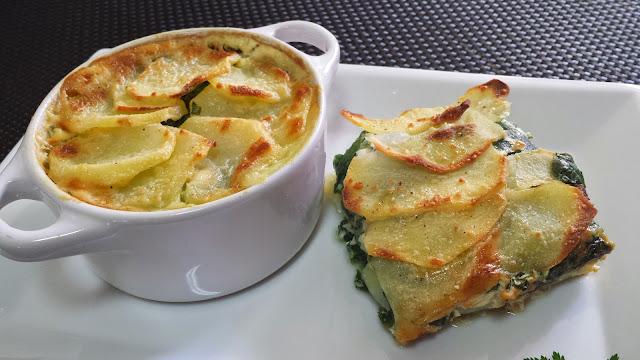 Graten de patatas y espinacas