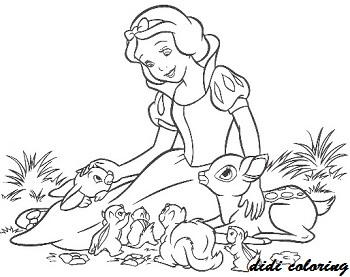 disney princess snow white playing with animals coloring page for