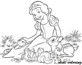 disney princess snow white playing with animals coloring page for girls didicoloring. Black Bedroom Furniture Sets. Home Design Ideas