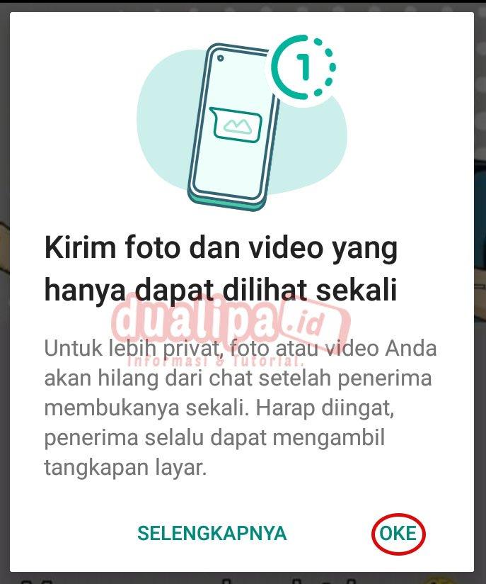 Cara Kirim Foto dan Video Sekali Lihat di WhatsApp pemberitahuan pengaturan cara kirim foto dan video sekali lihat