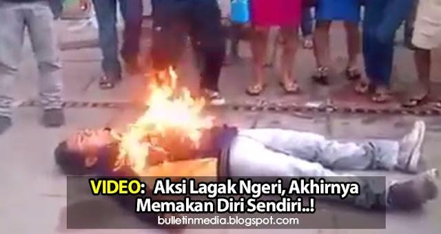 VIDEO: Aksi Lagak Ngeri, Akhirnya Memakan Diri Sendiri..!