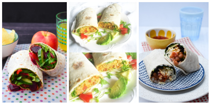 Photos of Beet Salad Lunch Wrap, Chickpea Quinoa Vegetable Wraps and Spicy Bean Lunchtime Wrap